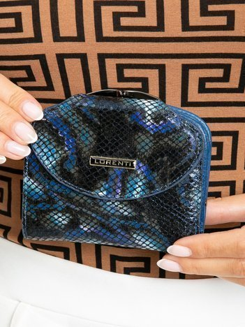 Niebieski skórzany portfel damski z klapką