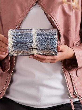 Niebieski skórzany portfel z motywem zwierzęcym