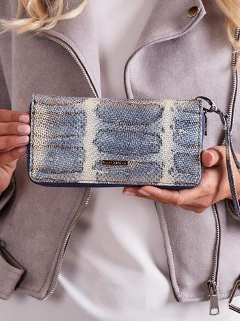 Niebieski skórzany portfel z uchwytem