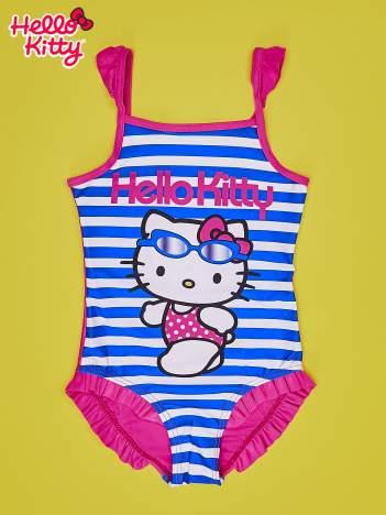 Niebieski strój kąpielowy w paski dla dziewczynki HELLO KITTY