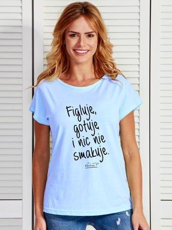 Niebieski t-shirt damski FIGLUJĘ by Markus P
