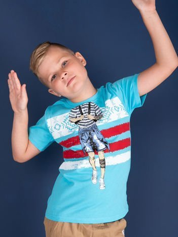 Niebieski t-shirt dla chłopca z nadrukiem