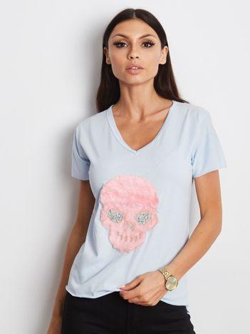 Niebieski t-shirt z czaszką