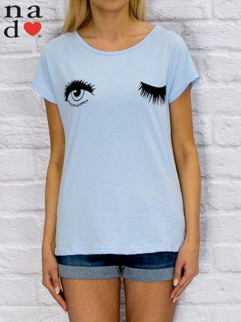Niebieski t-shirt z nadrukiem oczu