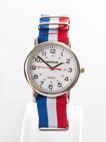 Niebieski zegarek męski z nylonowym paskiem