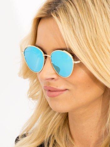 Niebieskie Damskie Okulary Słoneczne Lustrzane Z PERŁAMI Na Zausznikach