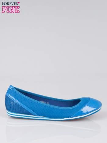 Niebieskie ażurowane baleriny  Blue Lagoon z lakierowanym czubkiem