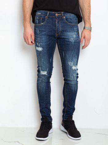 Niebieskie jeansy męskie Road