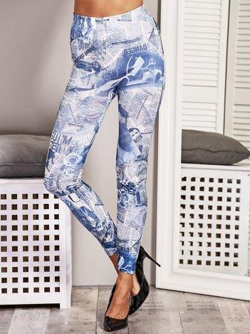 Niebieskie legginsy damskie newspaper print