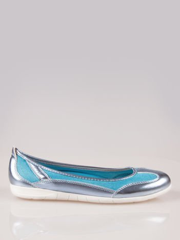 Niebieskie siateczkowe baleriny Comfort w sportowym stylu