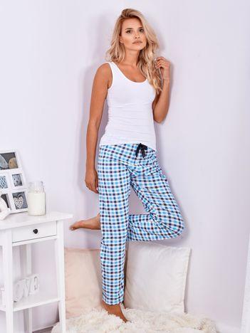 Niebieskie spodnie do spania w kratę