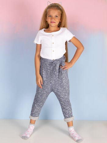 Niebieskie spodnie dresowe dla dziewczynki z wiązaniem