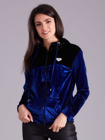 Niebiesko-czarna bluza welurowa