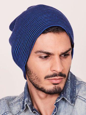 Niebiesko-czarna czapka męska w drobne paski