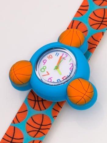 Niebiesko-pomarańczowy OBROTOWY zegarek dziecięcy z paskiem typu SLAP