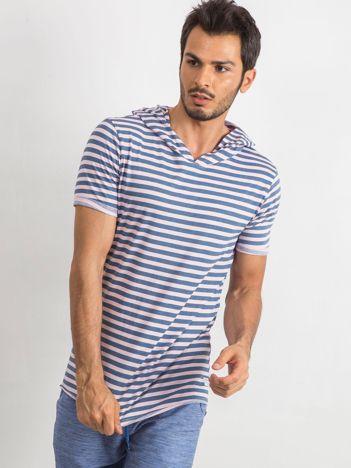 Niebiesko-różowy t-shirt męski Looper