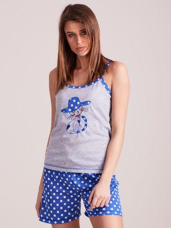 Niebiesko-szara piżama damska w grochy