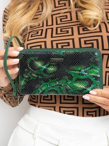 Niebiesko-zielony damski portfel z motywem piór
