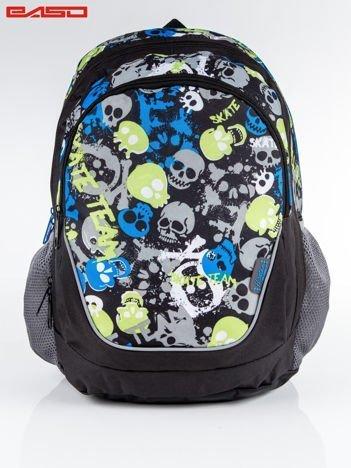 Niebiesko-zielony plecak szkolny w czaszki