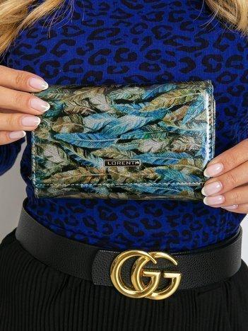 Niebiesko-zielony skórzany portfel z motywem piór