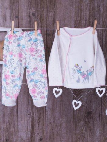 Niemowlęce półpiochy dziewczęce z bluzeczką ecru-różowe