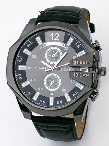 Nowoczesny czarny duży męski zegarek z ozdobnym chronografem