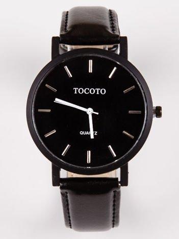 Nowoczesny męski zegarek z czarną tarczą i białymi wskazówkami
