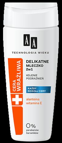 OCEANIC AA Technologia Wieku Cera Wrażliwa Delikatne mleczko do demakijażu 2 w 1 BEZZAPACHOWE 200 ml