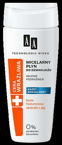 OCEANIC AA Technologia Wieku Cera Wrażliwa Kojący płyn micelarny do demakijażu oczu i twarzy BEZZAPACHOWY 200 ml