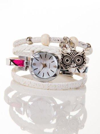 OWL biały zegarek damski  z cyrkonią i sową
