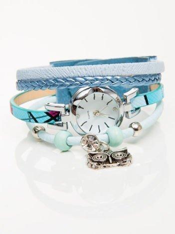 OWL  niebieski zegarek damski  z cyrkonią i sową
