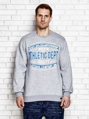 Ocieplana bluza męska ze sportowymi napisami szara