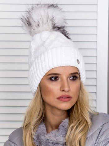 Ocieplana czapka zimowa z polarem biało-czarna