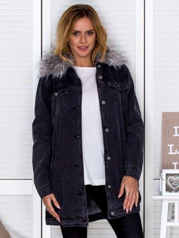 Ocieplana kurtka jeansowa z odpinanym futerkiem czarna
