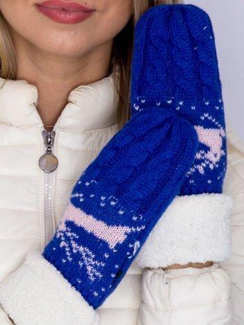 Ocieplane rękawiczki na jeden palec z reniferem kobaltowe