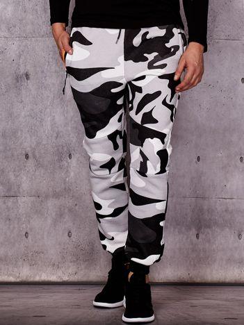 Ocieplane spodnie dresowe męskie we wzór moro