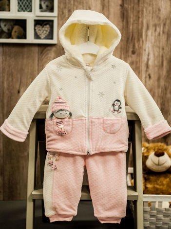 Ocieplany dres niemowlęcy dla dziewczynki różowy