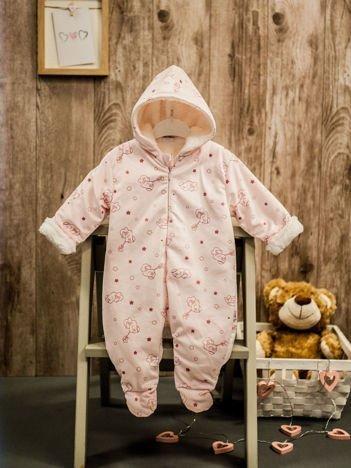 Ocieplany kombinezon niemowlęcy dla dziewczynki różowy