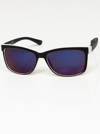 Okulary przeciwsłoneczne czarno-białe lustrzanki szkło szaro-niebieskie