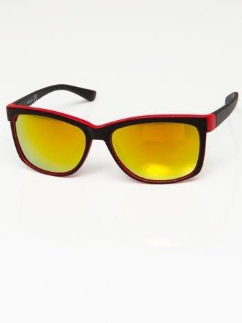 Okulary przeciwsłoneczne czarno-czerwone lustrzanki żółto-złoto-pomarańczowe