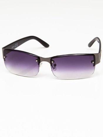 Okulary przeciwsłoneczne męskie grafitowo-czarne szkło fiolet dymione