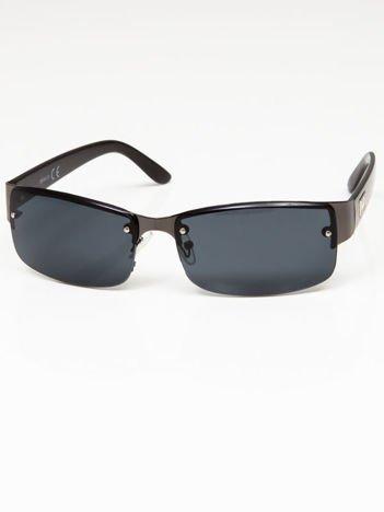 Okulary przeciwsłoneczne męskie grafitowo-czarne szkło szare