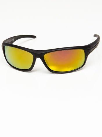 Okulary przeciwsłoneczne męskie w stylu sportowym żółto-złoto-pomarańczowe szkło lustro