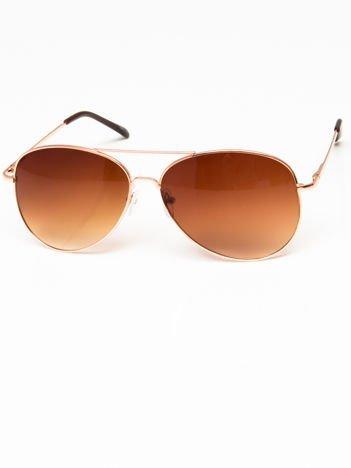 Okulary przeciwsłoneczne pilotki w stylu AVIATOR unisex złote szkło brązowe system FLEX na zausznikach BARDZO WYGODNE