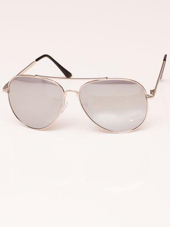 Okulary przeciwsłoneczne unisex Pilotki Lustrzanki srebrne
