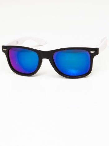 Okulary przeciwsłoneczne w stylu WAYFARER czarno-białe lustrzanki niebieskie