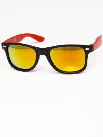 Okulary przeciwsłoneczne w stylu WAYFARER czarno-czerwone lustrzanki żółto-złoto-pomarańczowe