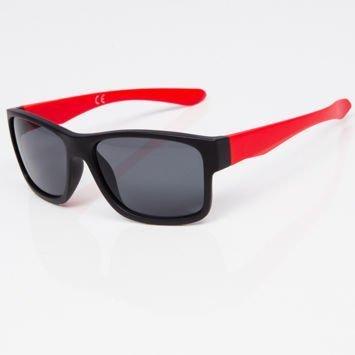 Okulary przeciwsłoneczne w stylu WAYFARER czerwono-czarne szkło szare