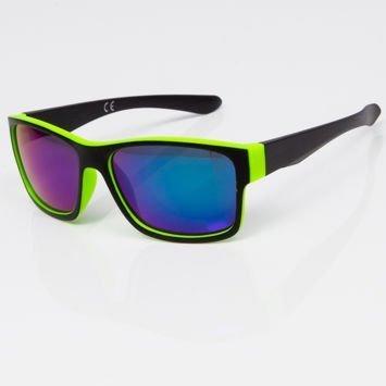 Okulary przeciwsłoneczne w stylu WAYFARER zielono-czarne niebieska lustrzanka