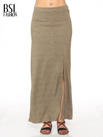 Oliwkowa melanżowa spódnica maxi z rozcięciem